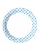 10 Minis assiettes en carton vichy bleu ciel et blanc 16 cm