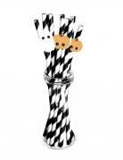 10 Pailles en carton noires et blanches sweety halloween 19,7 x 5 cm