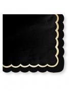 16 Serviettes en papier noires et dorées festonnées 33 x 33 cm