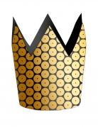 8 Petites couronnes en carton sequin doré 7,6 x 8,2 cm