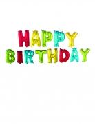 Ballons lettres aluminium Happy Birthday multicolore