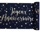 Chemin de table coton joyeux anniversaire bleu et or 28 cm x 3 m