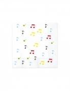 20 Serviettes en papier music party blanches 33 x 33 cm