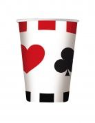 8 Gobelets en carton big poker 200 ml