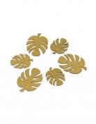 6 Feuilles tropicales en bois paillettes dorées 6 x 4,7 et 8 x 6 cm