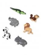 6 Animaux de la jungle adhésifs en résine 2,5 et 3,5 cm