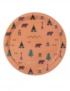 8 Assiettes en carton indian forest marron et dorures 23 cm