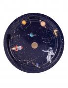 8 Assiettes en carton astronaute marine et dorure 23 cm