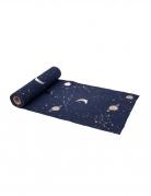 Chemin de table en lin bleu marine et or astronaute 28 cm x 5 m