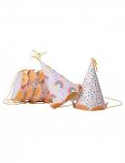 6 Chapeaux de fête arc-en-ciel multicolores paillettes dorées 12,5 x 7,5 cm