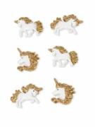 6 Licornes en résine adhésives et paillettes dorées 3 cm