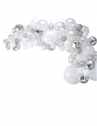 Kit arche de 70 ballons en latex argentés
