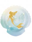 6 Assiettes Sirène Lagune en carton 18 cm