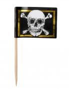 24 Pics en bois drapeau Pirate Jolly Roger 7 cm