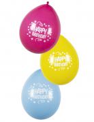 6 Ballons Confettis Happy Birthday rose, jaune et bleu 25cm