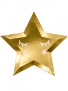 6 Assiettes en carton forme étoile dorées métallisées 27 cm