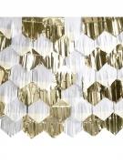 Fond décoratif tassel blanc et doré métallisé 7 x 2 m