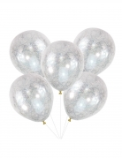 5 Ballons en latex transparents cheveux d'anges argentés 30 cm