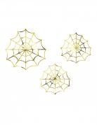 3 Décorations en papier toiles d'araignées dorées 23 et 18 cm