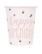 8 Gobelets en carton happy birthday blancs et roses 266 ml
