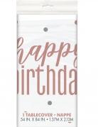 Nappe en plastique happy birthday blanche et rose 137 x 213 cm