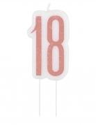 Bougie d'anniversaire sur pic 18 ans rose pailleté 7 cm