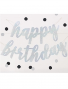 Guirlande en carton happy birthday argenté pailleté 84 cm