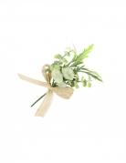 Mini bouquet feuillages avec ruban toile 15 x 8 cm