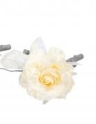 Rose artificielle ivoire sur branche 15 cm
