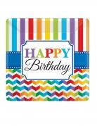 8 Assiettes carrées en carton Happy Birthday multicolore 25 x 25 cm