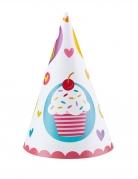 6 Chapeaux de fête en carton cônes cupcakes multicolores 16 cm