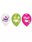 6 ballons en latex cupcakes multicolores 23 cm