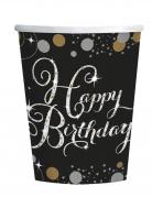 8 gobelets en carton célébration étincelante 266 ml