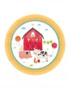 8 Petites assiettes en carton à la ferme 18 cm
