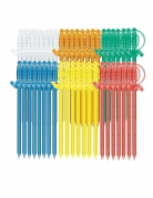 50 Piques épées en plastique multicolores 8 cm