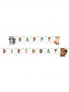 Bannière en carton happy birthday animaux de la forêt 2,4 m