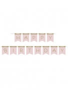 Bannière en carton happy birthday cygne royal rose 2,1 m