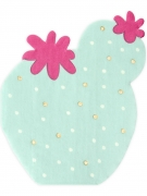 20 Serviettes en papier forme cactus menthe 11,5 x 13,5 cm