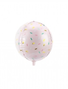 Ballon aluminium rose pastel confettis multicolores 40 cm