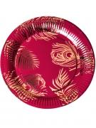 8 Assiettes en carton marsala plumes de paon rose gold 23 cm