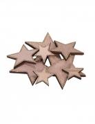 12 Etoiles en bois paillettes cuivre 8, 6 et 3 cm