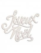 Décoration en bois joyeux noël paillettes blanches 19 x 20 cm