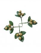 4 Branches boules paillettes dorées 8 cm