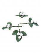 4 Branches boules paillettes blanches 8 cm