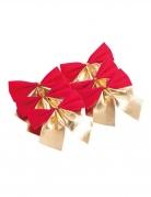 6 Nœuds adhésifs en velours rouge et doré 7 cm