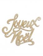 Décoration en bois joyeux noël pailletée dorée 19 x 20 cm