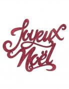 Décoration en bois joyeux noël pailletée rouge 19 x 20 cm
