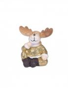 Rudolph en résine paillettes or 5 x 6 cm