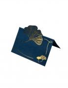 8 Marque-places feuille de ginkgo marine et or 9 x 6 cm
