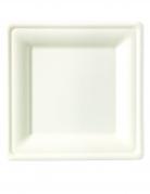 25 Assiettes carrées fibre de canne 20 x 20 cm